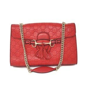 Auth Gucci Medium Emily Red GuccissimaShoulder Bag